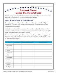 context clues grid context clues worksheets for 4th grade