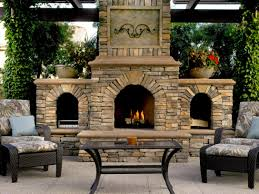 large outdoor fireplace