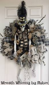 black feather wreath halloween xl halloween skeleton deco mesh wreath in tan u0026 black front door