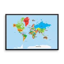 World Map Cartoon by Museum Quality Colorful World Map Poster The Pixel Prince