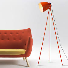Orange Floor Lamp Contemporary Orange Metal Floor Lamp With Bell Shade And Tripod Base