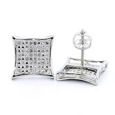 back diamond earrings 0 15cttw diamond kite earrings pave set 10 5mm wide big