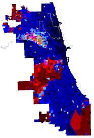 chicago voting map map of chicago mayoral election results by precinct