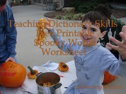 teaching dictionary skills free printable spooky words worksheet