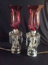 Candelabra Fireplace Antique Pair Crystal Candelabras Ruby Cranberry Glass Mantle Boudoir