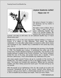 bastille day reading comprehension fictional french culural