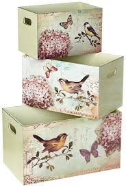 set of 3 bird design decorative storage boxes con decoupage