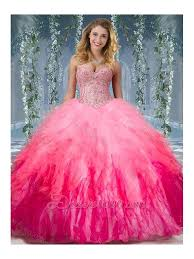 fifteen dresses beaded and ruffled organza sweet fifteen dresses in gradient color