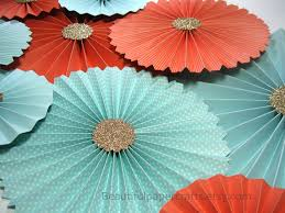 10pc aqua coral gold rosettes paper fans wedding pinwheel
