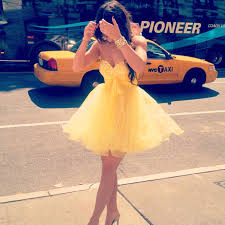 yellow fashion factory gown junior graduation puffy party dress