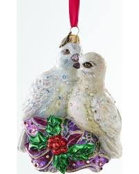 cyber monday sale two turtle doves glass ornament