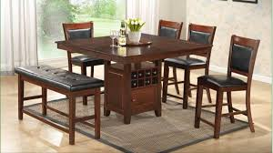 dining room table with butterfly leaf counter height table with wine rack storage lazy susan and