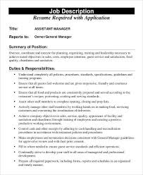 Restaurant General Manager Job Description Resume Assistant Manager Responsibilities Assistant Manager Job