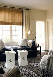 White Curtains With Blue Trim Tufted Daybed Contemporary Living Room Whittaker Design