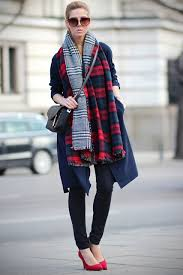 how to style plaid and tartan scarf in cold fall and winter be