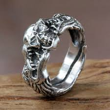 dragon jewelry rings images Sterling silver skull and dragon ring from bali fierce dragon jpg