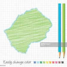 Lesotho Map Lesotho Map Sketch With Color Pencils On Grid Paper Vector Art