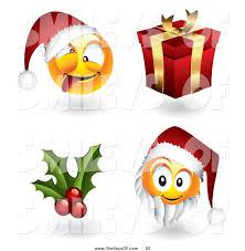 vector of a digital set of christmas emoticon faces santas holly