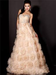 line princess sweetheart long peach tulle flowers evening prom