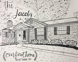 house drawings custom house drawing etsy