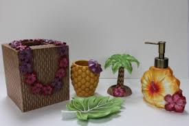 Palm Tree Bathroom Accessories by Details About Tropical Floral Bath Accessories 5pc Tropical