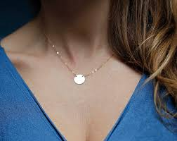 white gold initial disc necklace 14k solid gold tiny disc necklace monogram personalized disc