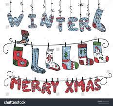 christmaswinter season knitted letters sock hanging stock