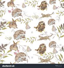 pattern animals owl hedgehog butterfly bunny stock illustration