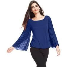 alfani blouses alfani pleated sleeve blouson top polyvore