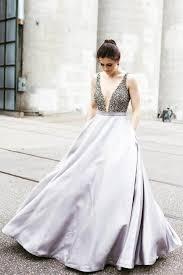 v neck beaded top a line satin prom dresses popular evening dress