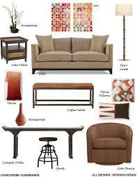 Jill Seidner Interior Design Online by Placentia Ca Residence Living Room Furnishings Concept Board
