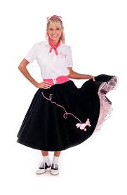 amazon com hip hop 50s shop 4 piece poodle skirt costume