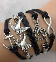 leather charm bracelet ebay images Infinity two birds music anchor antique silver leather charm jpg