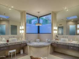 contemporary master bathroom with skylight u0026 rain shower head in