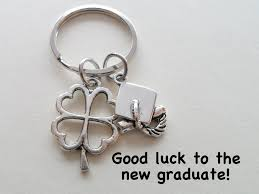 graduation keychain clover charm with cap and diploma charm graduation keychain