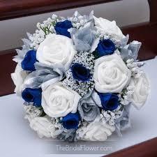 wedding flowers royal blue royal blue and silver silk wedding bouquet horizon blue bridal