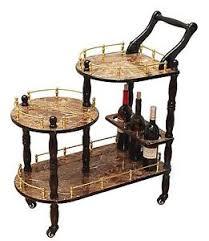 antique serving cart 3 tier trolley bar tea wine rack wood gold
