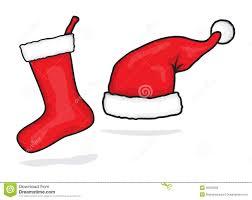red santa hat and christmas stocking royalty free stock photos