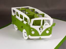 volkswagen bus art kirigami volkswagen bus vw bus pop up card pop up birthday