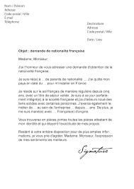 demande de naturalisation par mariage lettre de demande de nationalité française modèle de lettre