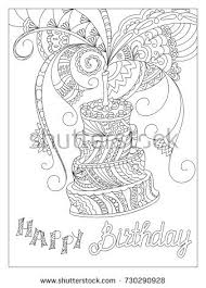 Sketch Birthday Card Sketch Monochrome Birthday Card Doodle Cake Stock Vector 730290928