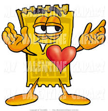 valentine u0027s clipart of a yellow movie admission ticket mascot