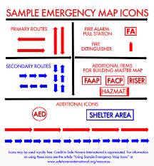 Fire Evacuation Plan Template For Office by Using Sample Emergency Map Icons Safe Havens International
