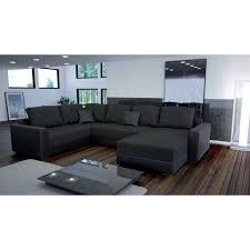 canapé d angle en canapé d angle en u still noir tissu maille achat vente