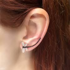 ear climber earring clear black dragonfly ear climber