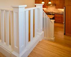 Phil Banister Craftsman Handrail With Square Wood Balusters And Large Box Newel