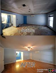 modernized and refreshed living room by removing popcorn ceiling