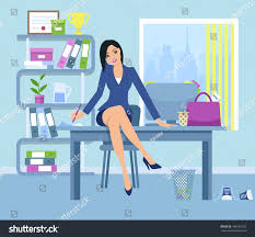 Sitting On The Desk Young Business Woman Sitting On Desk Stock Vector 448183759