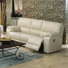 White Leather Recliner Sofa Bonded Leather Reclining Sofa Black Color Overstuffed Arms Seats