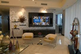 Tv Accent Wall by Decor Accent Armchairs And Side Table With Tile Flooring Also